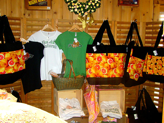 Bags and oranges and lots of other items for sale