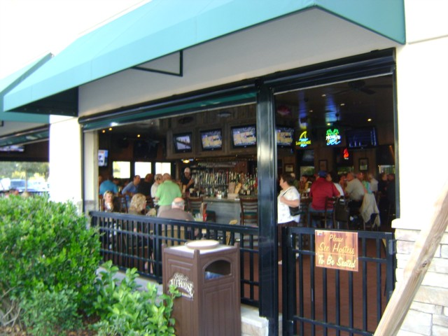 The patio bar and dining area