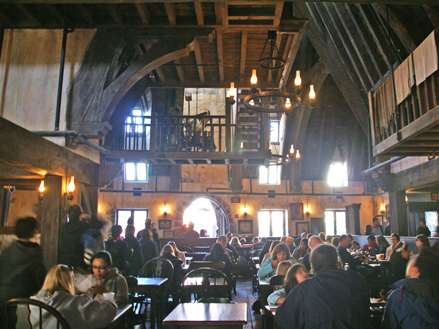 The dining hall in The Three Broomsticks
