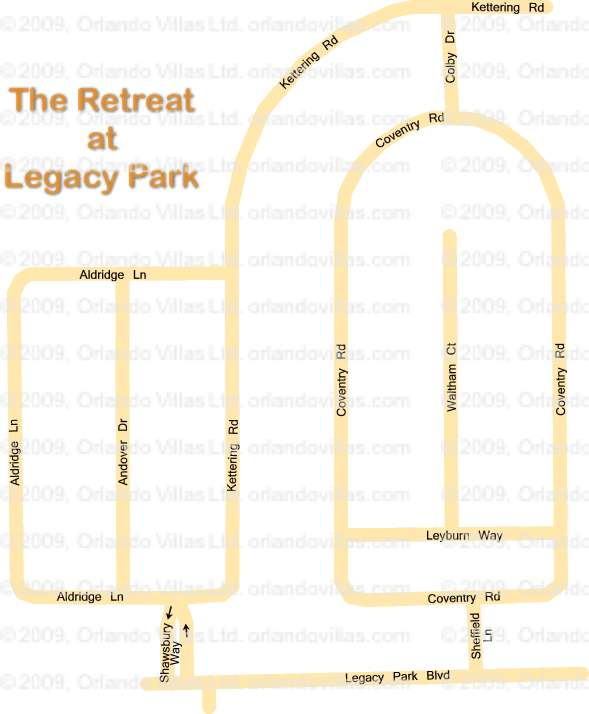 The Retreat at Legacy Park community map