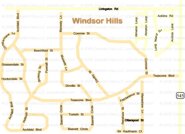 Windsor Hills Resort community map